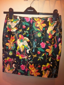 Painted leather skirt