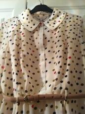 Marlee polka dot dress in nude pink