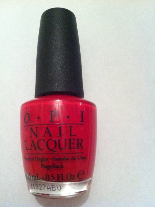 "OPI nail varnish, ""color so hot it berns"""