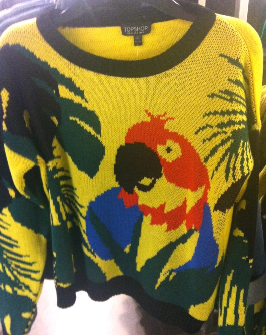 Knitted tropical parrot sweater, Top Shop, £34