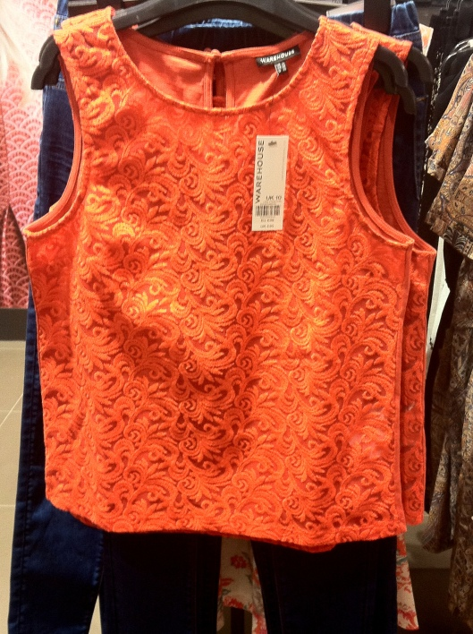 Embroidered mesh shell top, Warehouse, £30